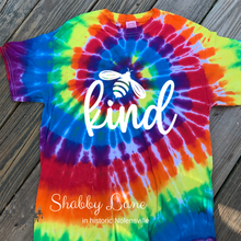 Load image into Gallery viewer, Bee Kind tie dye T-shirt rainbow