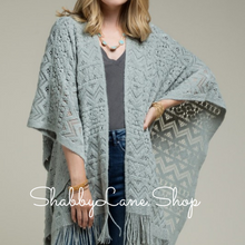 Load image into Gallery viewer, Lovely Ruana Chevron with flowers - light grey