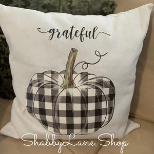 Grateful buffalo plaid pumpkin - white pillow