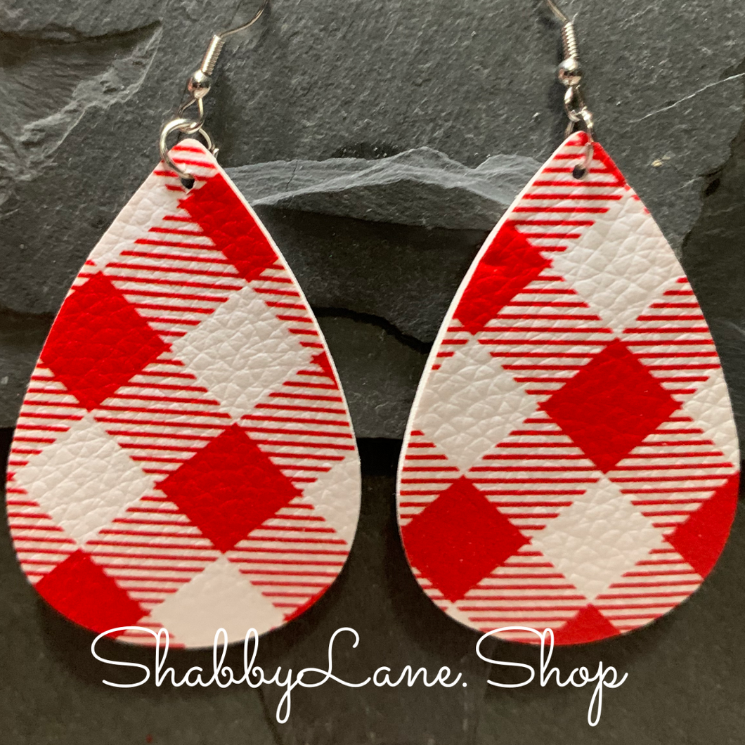 Buffalo plaid  earrings - red and white -style 1