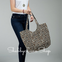 Load image into Gallery viewer, Sweet canvas leopard print tote - brown
