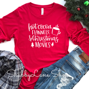 Hot cocoa flannels Christmas movies - red long sleeve