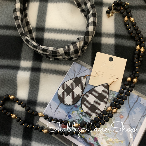 Buffalo plaid White - neck scarf boutique bundle