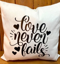 Load image into Gallery viewer, Love Never Fails Canvas pillow