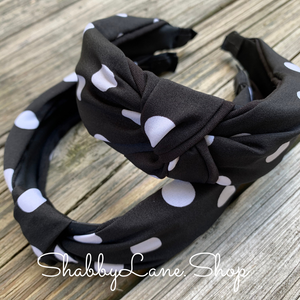 polka dot headband -black
