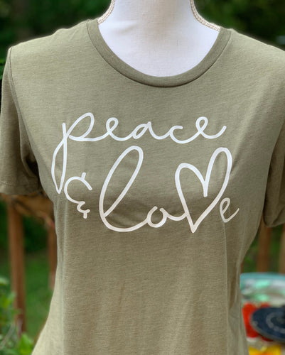 Peace and Love Olive tee