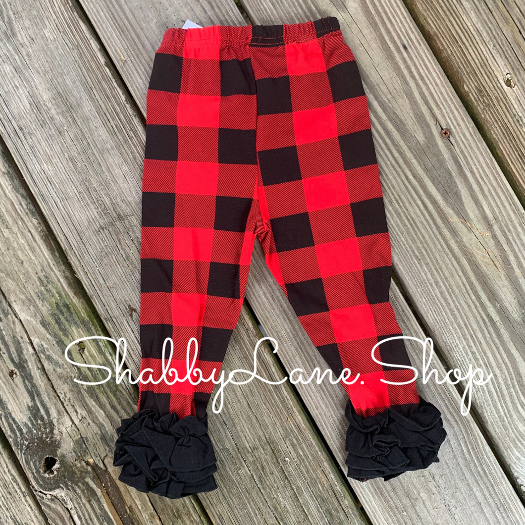 Buffalo plaid ruffle pants