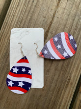 Load image into Gallery viewer, Patriotic Teardrop faux leather earrings Stars and Stripes
