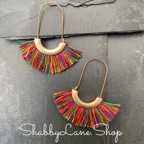 Tassel Earrings - Multi color dark