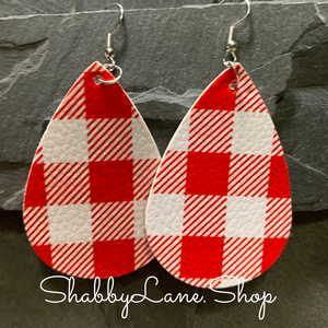 Buffalo plaid  earrings - red and white -style 2
