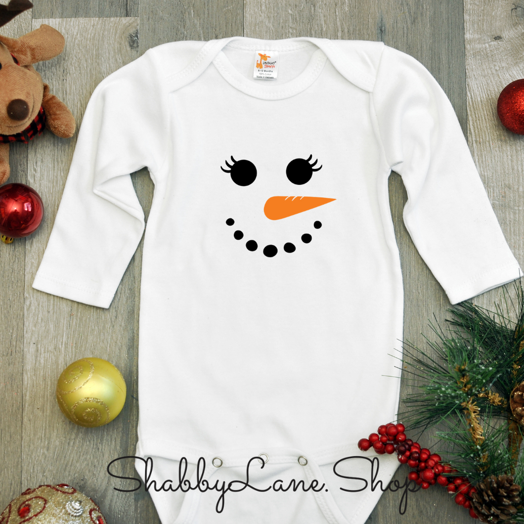 Snowman face - girl Christmas bodysuit- white