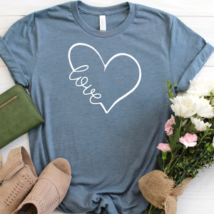 Love Heart slate blue tee