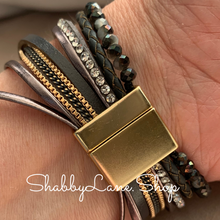 Load image into Gallery viewer, Gorgeous cross layered bracelet - gray
