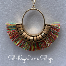 Load image into Gallery viewer, Fan Tassel  necklace -Multi color
