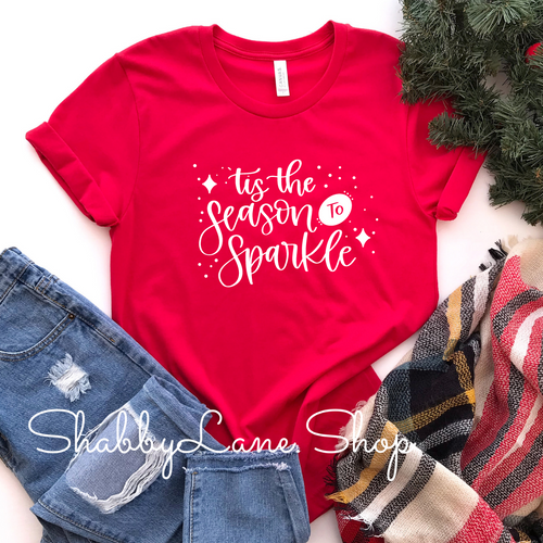 'Tis the season to sparkle - Red Short Sleeve
