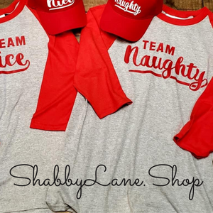 Team Naughty - red sleeves gray unisex T-shirt of the day