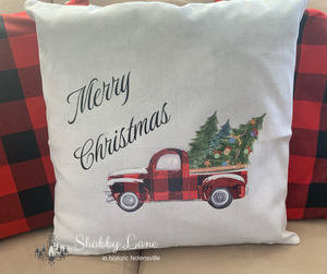 Red Buffalo Plaid Merry Christmas Truck  pillow!
