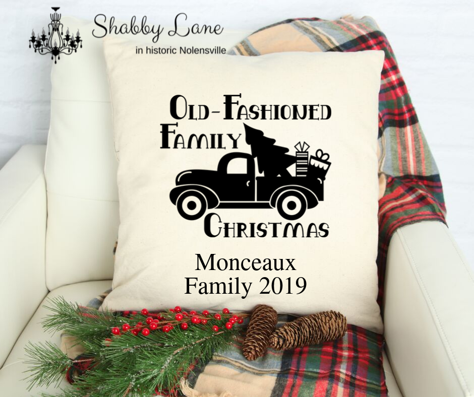 Old Fashion family Christmas personalized Canvas pillow
