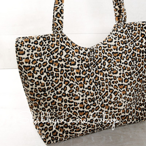 Sweet canvas leopard print tote - brown