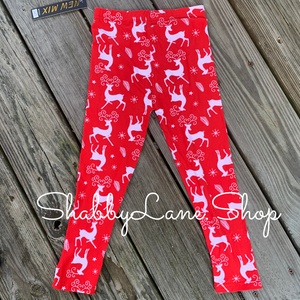 Children's leggings - reindeer red