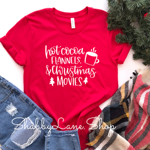 Hot cocoa flannels Christmas movies - Red Short Sleeve