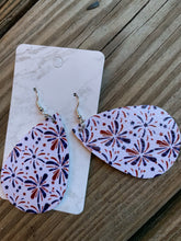Load image into Gallery viewer, 4th of July Teardrop faux leather earrings Fireworks