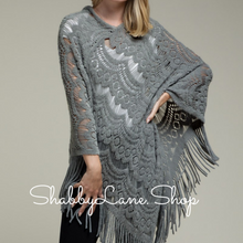 Load image into Gallery viewer, Beautiful crochet poncho with fringe- Dk gray