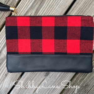 Fashionable Red Plaid clutch