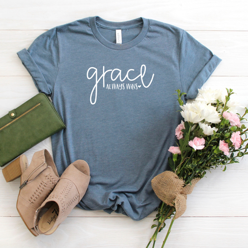 Grace always wins - slate blue