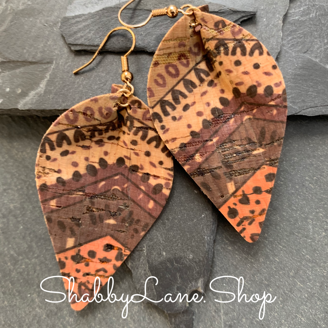 Pinched teardrop cork earrings brown tones