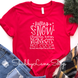 Falling Snow- Red Short Sleeve