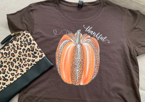 Thankful Leopard pumpkin on chocolate shirt