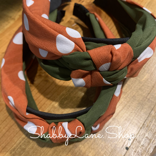 Beautiful burnt orange polka dote and olive knotted headband