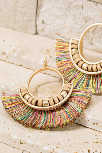 Fan Tassel Earrings - Multicolor