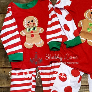 Christmas pajamas - gingerbread boy - stripes