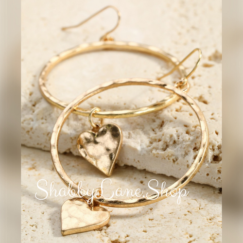Hammered heart gold earring hoops