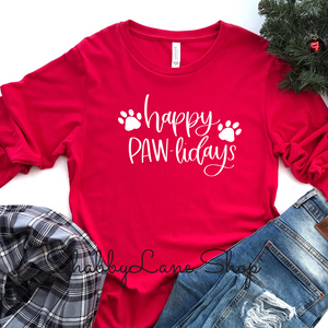 Happy Pawlidays - red long sleeve