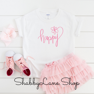 Happy- toddler/kids - white T-shirt - pink text