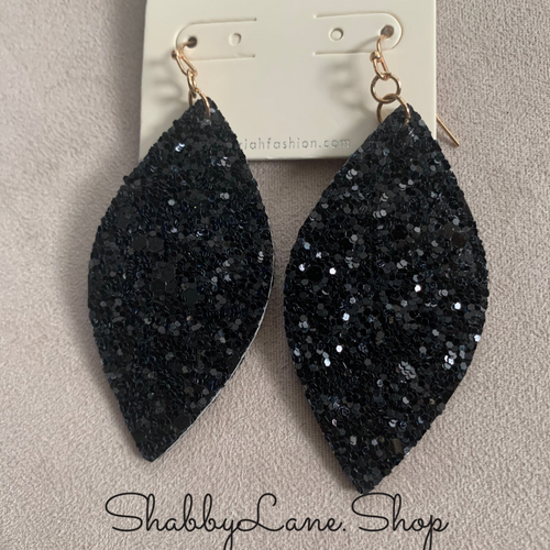 Holiday earrings - black silver glitter marquis