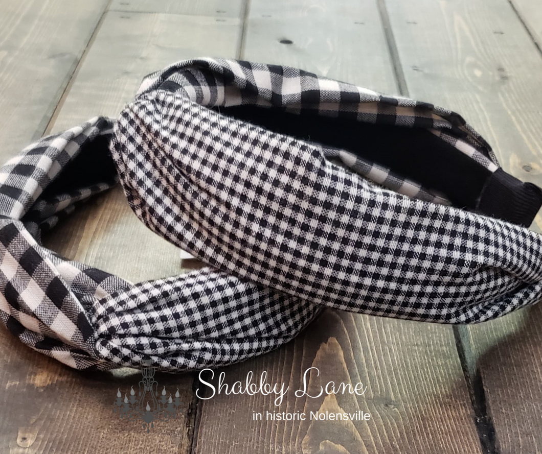 Buffalo plaid headband with smaller plaid