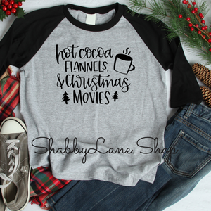 Hot cocoa flannels Christmas movies - gray raglan