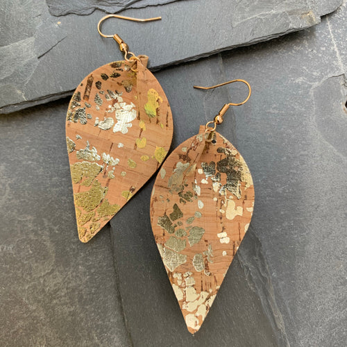 Pinched teardrop cork silver earrings