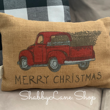 Load image into Gallery viewer, Red truck merry Christmas burlap accent pillow