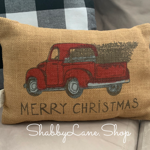 Red truck merry Christmas burlap accent pillow