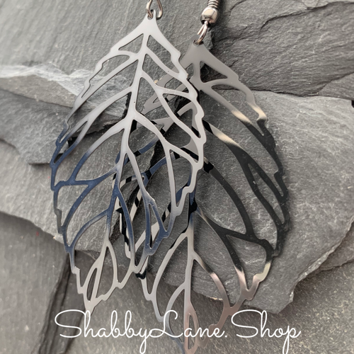 Gray Metallic leaf earrings