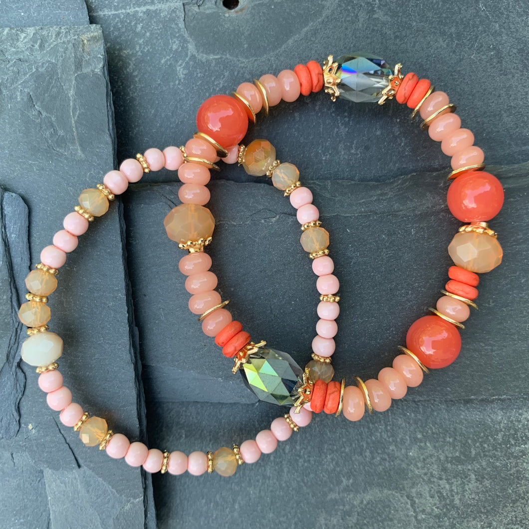 Beaded coral bracelet duo - create your own sunshine