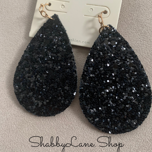 Holiday earrings - black glitter tear drop