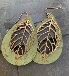 Teardrop cork -gold leaf earrings - mint