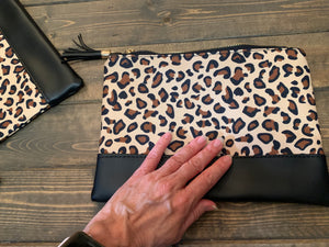 Leopard print zippered clutch