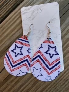 Patriotic Teardrop faux leather earrings white stars